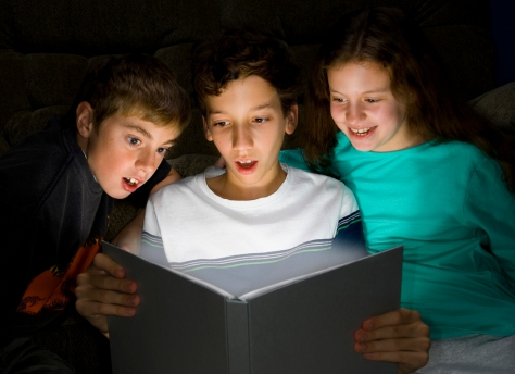 Stock Photo of Children Discovering Reading