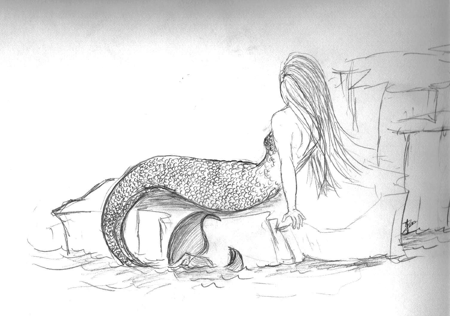 Realistic Mermaid Coloring Pages Pencil Sketch J L Mbewe